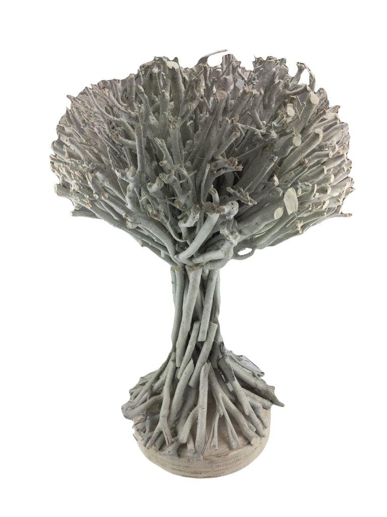 Drevena Dekorace Strom 56x38 Cm Bily Keramika Umele Kvetiny